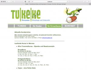 Screenshot der alten Seite